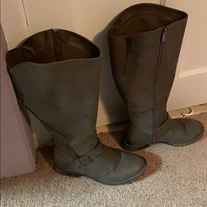 Dark Grey Gray Women's Wide Boots 10